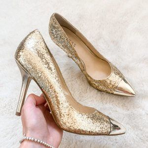 Guess Gold Glitter Pointed Shine Toe Heels Sz 8
